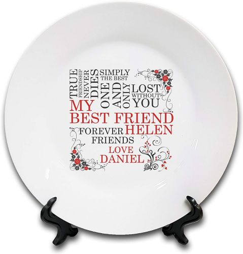 "8"" 'Personalised My Best Friend.' Novelty Ceramic Plate & Stand"